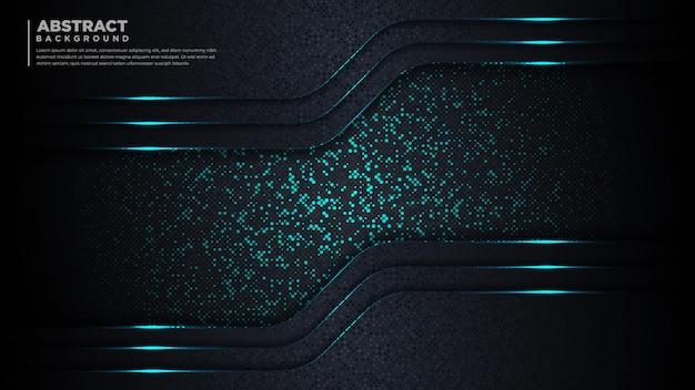 抽象的なダークブルーの豪華な背景。未来的なキラキラドットとキラキラ光。
