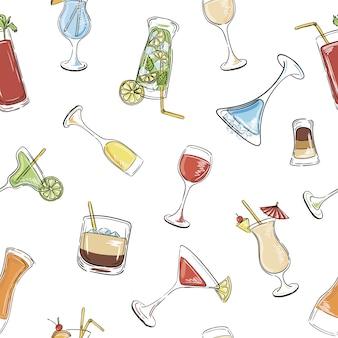 アルコール飲料やカクテルのシームレスパターン。