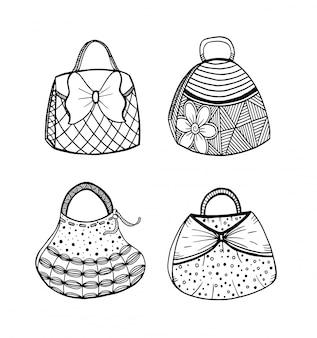 女性のハンドバッグの手描きセット。落書き、華やかな、飾りのスタイル