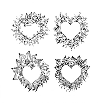 落書きスタイルでハート、花、華やかな要素を持つ装飾的な愛のフレーム構成を設定します。