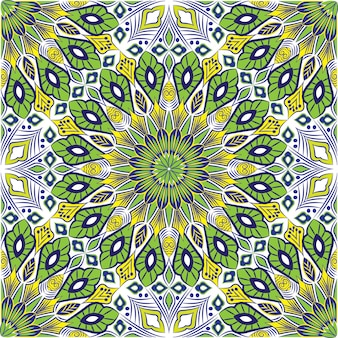 装飾的なマンダラデザインの抽象的な背景。花とのシームレスなパターン
