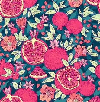 ザクロとのシームレスなパターン。果物の背景。