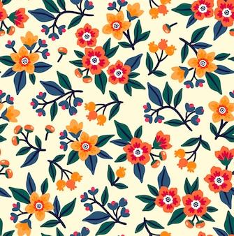 設計のためのシームレスな花柄。小さな色とりどりの花。