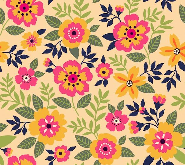 小さな花でエレガントな花柄。リバティスタイル。花のシームレスな背景。