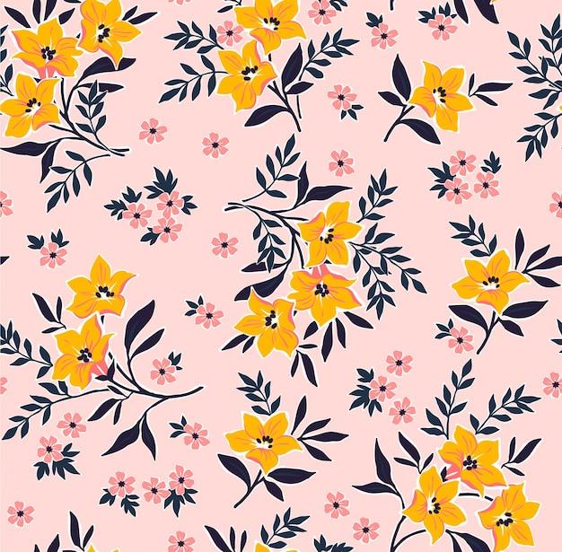 手で花柄は小さな花を描きます。リバティスタイル。花のシームレスな背景。