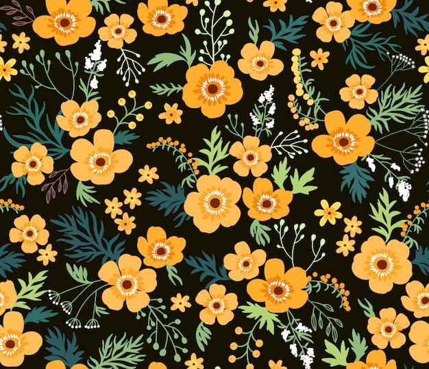 花柄。黒の背景に黄色の花をキンポウゲ。シームレスなベクター印刷。春の花束。