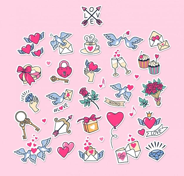 バレンタインデーセット。コレクション愛のステッカー。