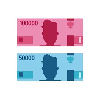 Индонезийский доллар или деньги рупии в плоском художественном дизайне