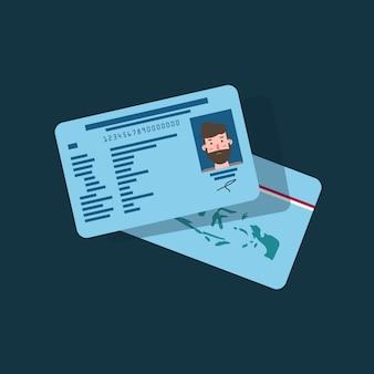 Идентичная карточка для людей и граждан в дизайне плоского искусства