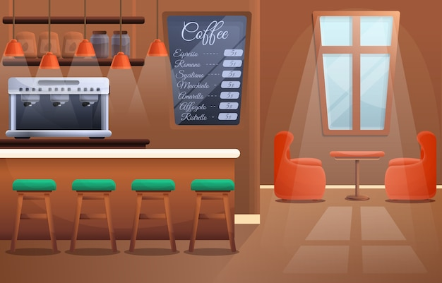 Интерьер современной деревянной кофейни, векторная иллюстрация