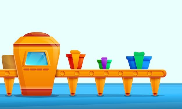 Мультяшный фабричный интерьер с конвейером для производства подарков, векторная иллюстрация