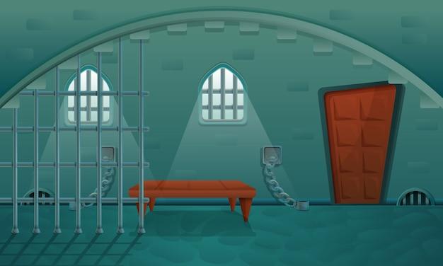 Мультяшная тюрьма в каменном подвале замка, векторная иллюстрация