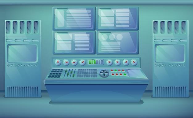 Мультяшный инженерный зал с оборудованием, векторная иллюстрация