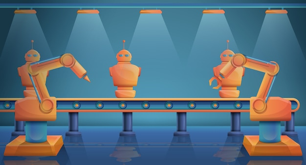Фабрика с станками, производящими роботов, векторная иллюстрация