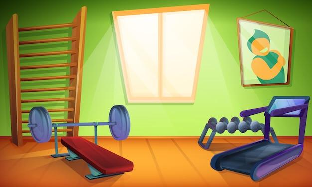 Тренажерный зал с оборудованием для спорта в мультяшном стиле, векторная иллюстрация