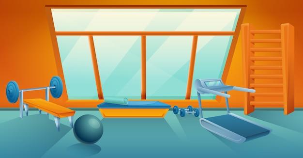 Мультяшный тренажерный зал с оборудованием, векторная иллюстрация