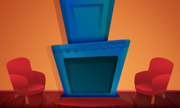 Мультяшный зал с камином и стульями, векторная иллюстрация