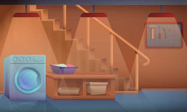 Мультяшный подвал дома со стиральной машиной, векторная иллюстрация
