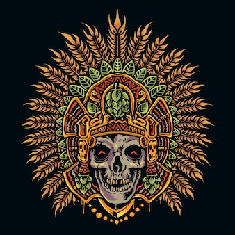 手描きのアステカの頭蓋骨