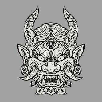 怒っている日本の悪魔の顔