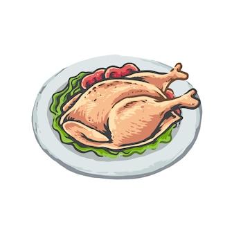 鶏のイラストのプレート