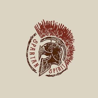 Старая марка спартанский шлем иллюстрация