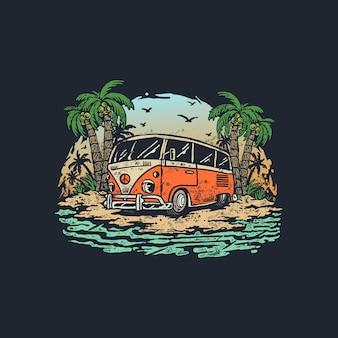 夏の旅行ヴィンテージ古いワゴン車イラスト