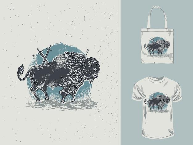 Старинные рисованной иллюстрации бизонов