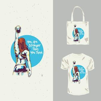 Леди фитнес дизайн футболки