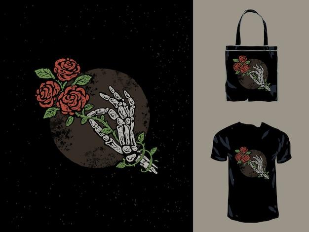 Старая печать череп рука и розы иллюстрация