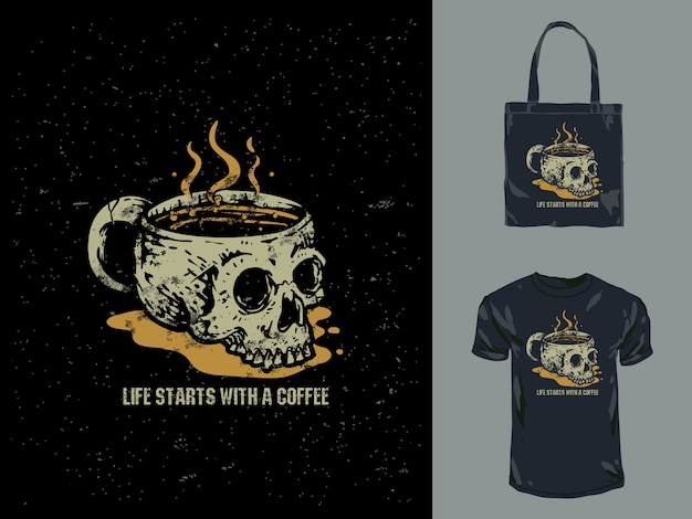 Урожай кофе череп кружка рисованной иллюстрации