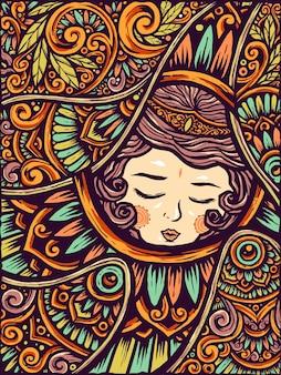 眠っている美しさの女の子エトルニックフラワーマンダラの背景