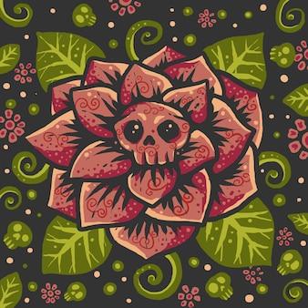 カラフルな花の頭蓋骨パターンのバックラウンドイラスト