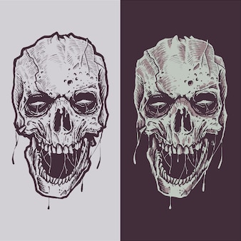 恐ろしい頭蓋骨の手作りのイラストスケッチ