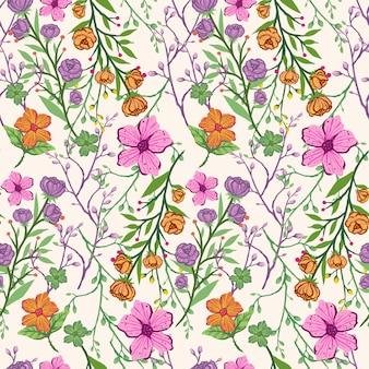シームレスなカラフルなヴィンテージ手は、花のパターン