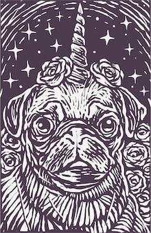 Ксилография стиль мопс собака единорог плакат фон