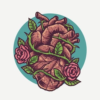 ビンテージのハートとバラ彫刻漫画スタイルイラスト