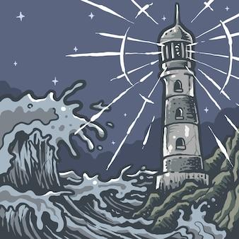 ビンテージナイト灯台パノラマ