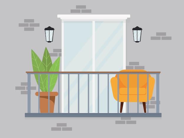 人々のトラブルの灰色の背景に灰色のパステルカラーの明るく快適な居心地の良いバルコニーインテリア。大きな窓の花のアームチェアを備えたモダンなフラットデザインスタイル。ストックイラスト。