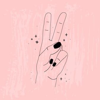 女性の手の輪郭。ピンクのテクスチャ背景。さまざまなポーズの手。