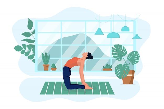 女の子は自宅の敷物のリビングルームでヨガを練習します。彼はエクササイズと瞑想をします。孤立した白い背景。インテリアデザインのコンセプトと健康的なライフスタイル。