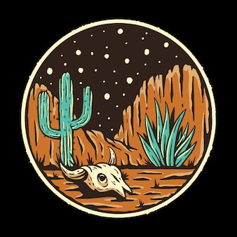 夜の砂漠のイラスト