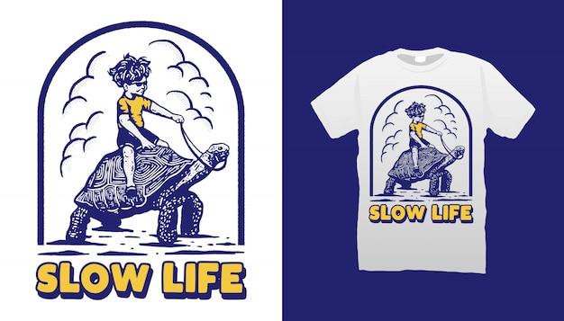 Медленная жизнь иллюстрация футболка дизайн