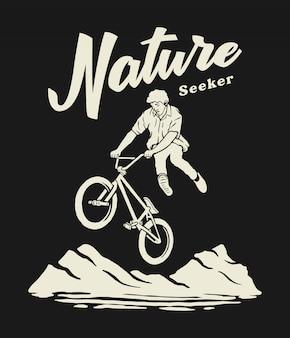 屋外サイクリングの図