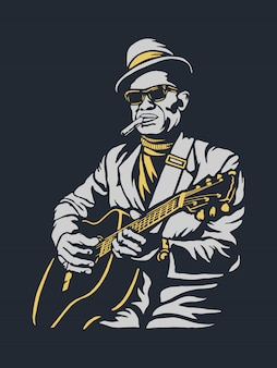 Старый музыкант играет на гитаре иллюстрации