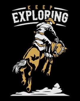 カウボーイに乗る馬の図