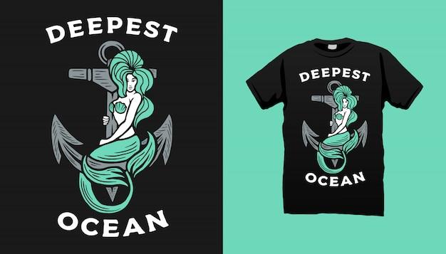 Русалка холдинг якорь футболка дизайн