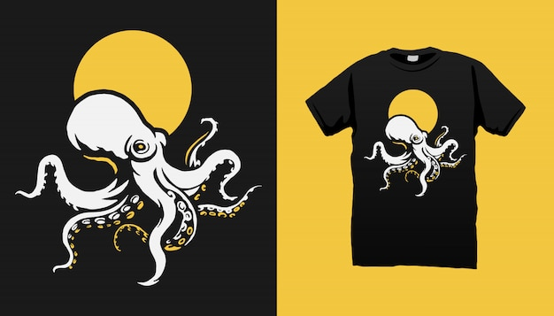 Осьминог футболка дизайн