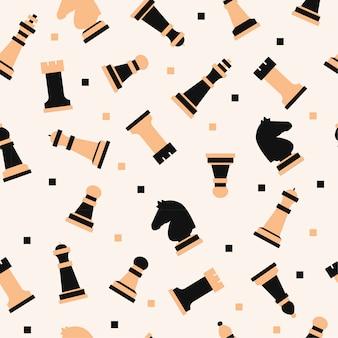 落書きチェスのシームレスなパターン背景