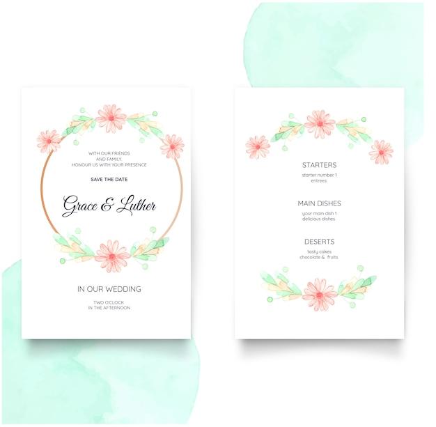 水彩画の花の結婚式の招待状
